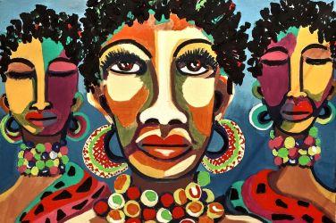 Tribù africane, dipinto donne